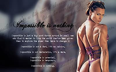 """Bodybuilding Fitness Motivation Motivational Fabric Cloth Rolled Wall Poster Print -- Size: (40"""" x 24"""" / 21"""" x 13"""")"""
