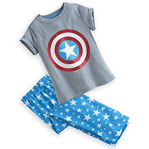Disney Marvel Captain America Sleep Set for Girls Pants & Shirt Pajamas (7/8 Medium) (Marvel Superheroes Pajamas compare prices)