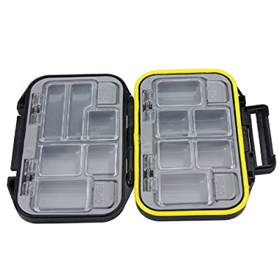 12 Compartments Storage Case Fly Fishing Lure Spoon Hook Bait Tackle Box Waterproof Black