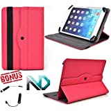 Tablet Case - Stand - Compatible with Amazon Kindle Touch *Magenta / Hot Pink* - 360 Rotating Case and Bonus NextDia Mini Stylus sale 2015