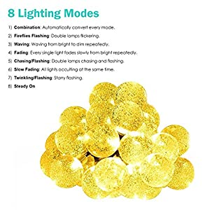 [8 Modes 30 LEDs] Milocos Solar Crystal Ball String Lights, Fairy Orb Crystal Ball Lighting for Christmas Trees, Garden, Patio, Wedding, 20 Feet, Waterproof, Warm White