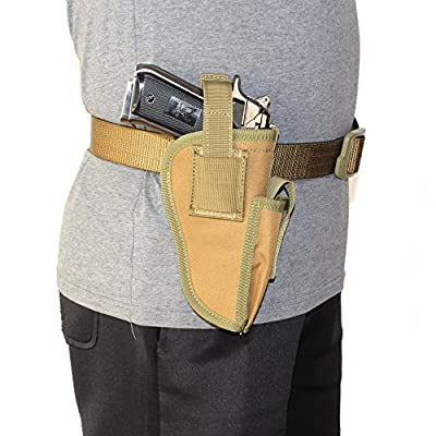 Depring Tactical Waist Pistol Holster Every Day Carry Waist Belt Handgun Holster Right Hand Left Hand Interchangeable Gun Holster with Magazine Slot for Medium Compact Subcompact Hand Guns
