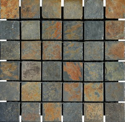 2x2 China Multi Color Tumbled Slate Mosaic Tiles for Backsplash