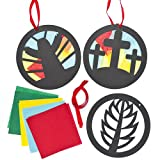 Holy Week Stained Glass Effect Decorations (Pack of 6)