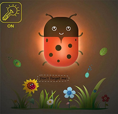 Samgo 3d Adorable Animal Wallpaper Novelty Cartoon Wall Stickers Lamp for Kids' Bedroom Room Decoration LED Night Light DIY (Ladybug)