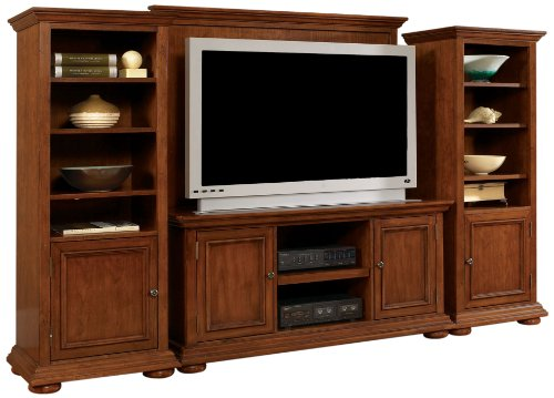 Home Styles Furniture Homestead 4 PC Wood Entertainment Center in Distressed Warm Oak Finish