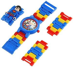 LEGO Kids' 9005619 DC Universe Super Heroes Superman Plastic Watch with Link Bracelet and Character Figurine