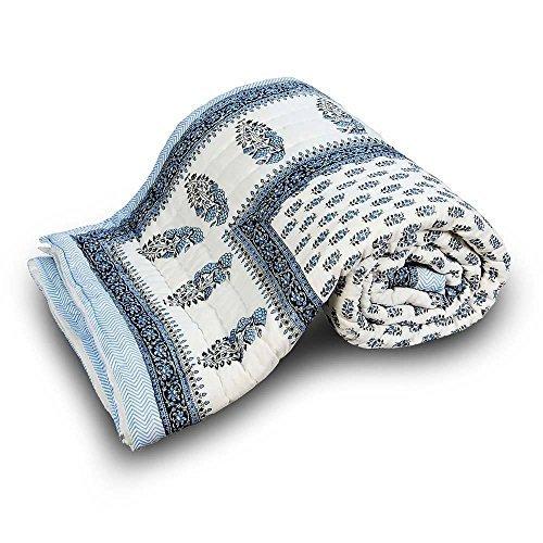 Manta de bloque tradicional Little India cama doble estampado azul