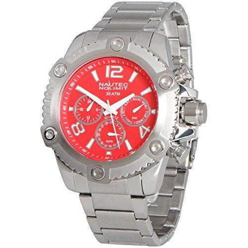 No limit Nautec hombre-reloj analógico de cuarzo de acero inoxidable FRBL-QZ-STSTST-RD
