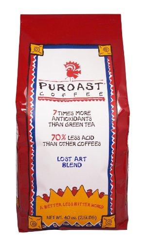 Puroast Low Acid Coffee Lost Art Blend Whole Bean, 2.5-Pound Bag