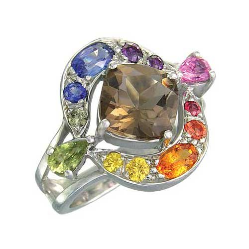 Rainbow Sapphire & Smoky Quartz Multi Shape Ring 925 Sterling Silver (2.58ct tw)