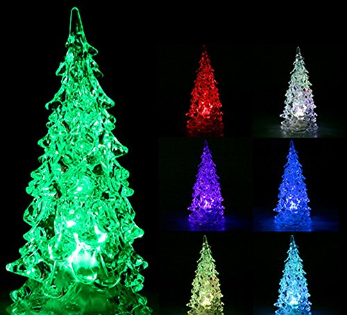 New Year Christmas Mini Crystal Color Changing Led Tree Decoration Night Light Lamp Gift For Baby