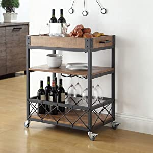 Myra Rustic Mobile Kitchen Bar Serving Cart, Wood and Metal Rolling Serving Cart by Unknown