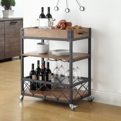 wine serving cart rolling rustic mobile kitchen bar. Black Bedroom Furniture Sets. Home Design Ideas
