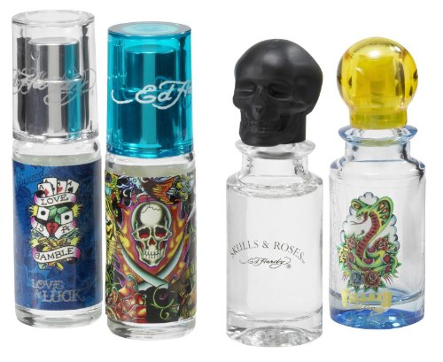 Ed Hardy Variety Set-4 Piece Mens Mini Set With Ed Hardy Hearts & Dagger & Ed Hardy Love & Luck & Ed Hardy Skulls & Rose