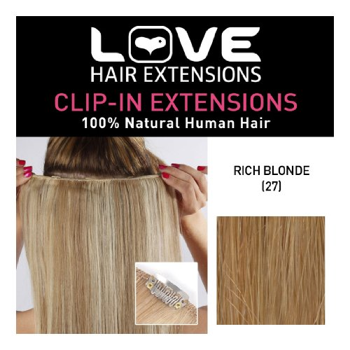 Love Hair Extensions 100% Human Hair Clip in Extensions Colour 27 Rich Blonde 18 -Inch
