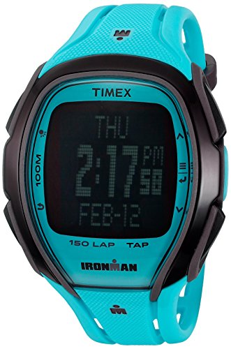 Timex 'Ironman Sleek 150 Neon' Quartz Resin Running Watch, Color:Blue (Model: TW5M006009J)