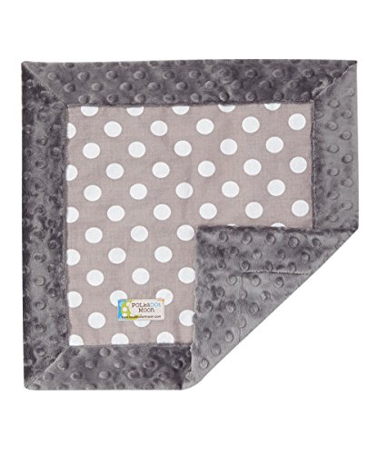 Baby LUXE Lovey/Security Blanket - Gray & White Polka Dots on Gray Minky