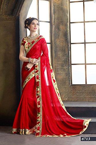 Saree - Indian Beauty Red Color Georgette Designer Saree