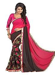 Pramukh saris Womens Georgette Designer Lace Work Sari (Pink)