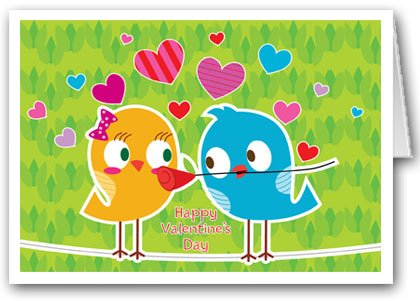 Cute love bird theme Valentine's Day card set