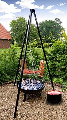 """'4in 1multi-barbecue set """"Oslo-180cm barbecue basculante con catenella e XXL griglia + grande braciere + 15litri-pentola smaltata per vin brulé o stufato + 2Set Porta salmone 2341"""