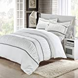 Chic Home Betsy 3-Piece Ruffled Duvet Cover Set, King, White