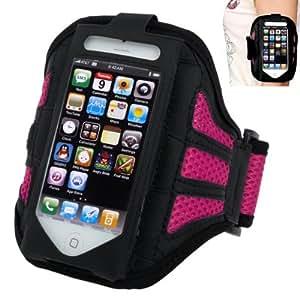 Brassard sport tour de bras noir + rose pour iphone 5 et iphone 5S idéal pour les sportifs, course à pied ou salle de sport - TechExpert