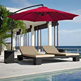 Best Choice Products® Patio Umbrella Offset 10 Hanging Umbrella Outdoor Market Umbrella New Burgundy