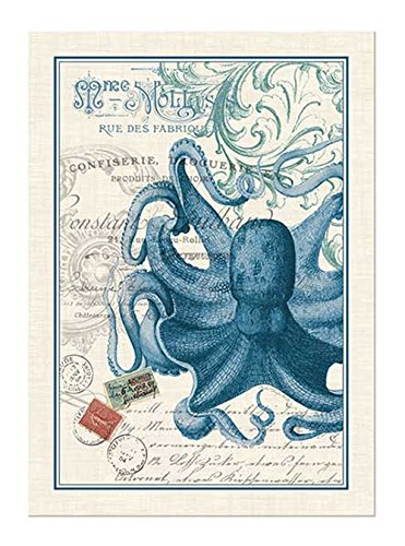 Octopus Cotton Kitchen Towel, Blue/White