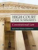 9780314279149: High Court Case Summaries on Constitutional Law, Keyed to Choper, 11th