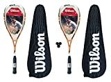 2 x Wilson Fierce BLX Squash Rackets with Carry Cases + 3 Balls RRP £355