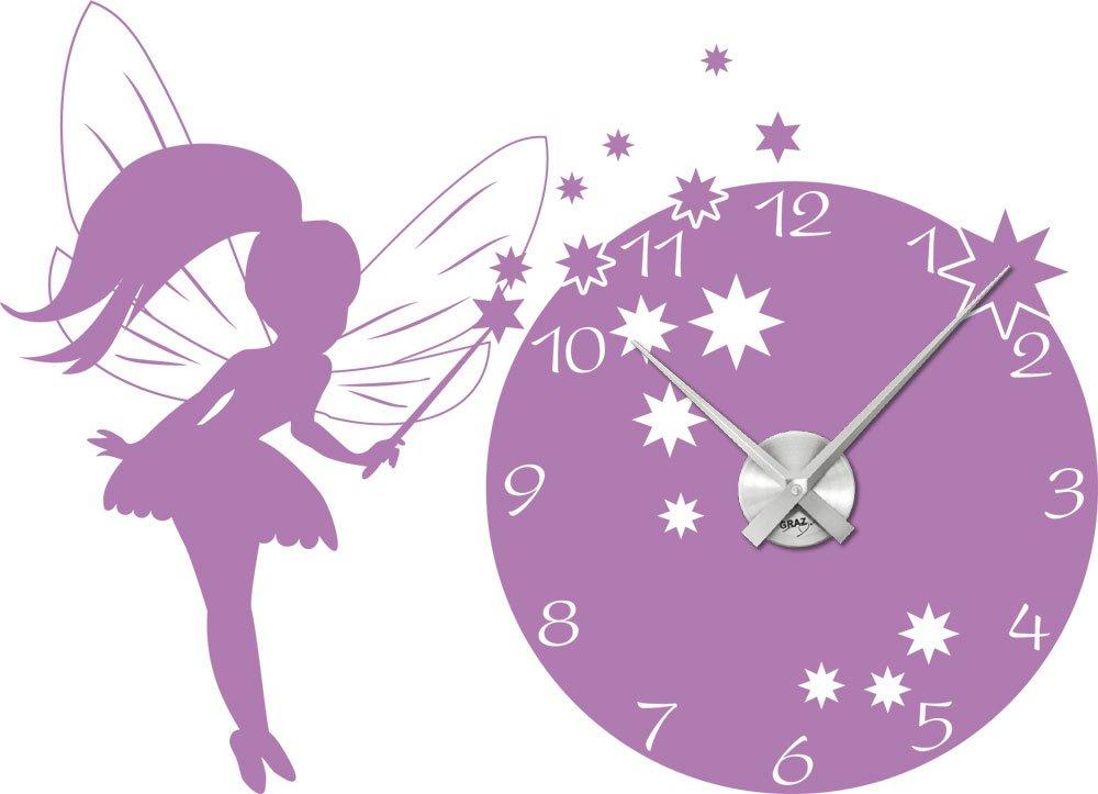 Wandtattoo Uhr Wanduhr mit Uhrwerk Kinderzimmer Prinzessin Fee (Uhr Silber gebürstet //042 flieder) jetzt bestellen