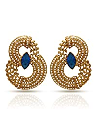 Traditional Ethnic Gold Plated Curvy Pearls Dangler Earrings With Crystal & Pearl For Women By Donna ER30044GBlu