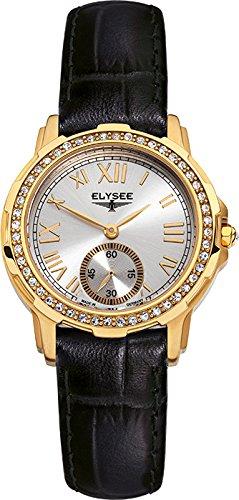 Elysee Melissa Femme 33mm Noir Cuir Bracelet Minéral Verre Montre 22004