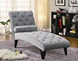 Chaise Lounge with Button Tufted Gray Velour Fabric in Black Finish