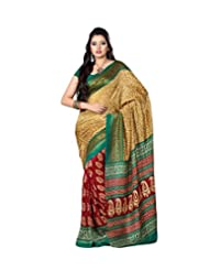 Yomeeto Pashmina Fabric Cream And Red Coloured Printed Saree