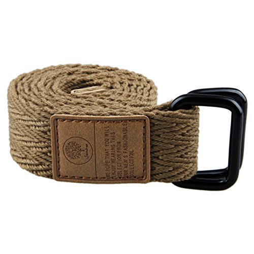 Samtree Canvas Web Belts for Men Women,Double D Ring Buckle Belt Fully Adjustable(43