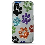 Colorful Dog Paws Spot Diamond Rhinestones Snap-On 2Pcs Protector Phone Cover Case for Apple Iphone 4 (AT&T, VERIZON)