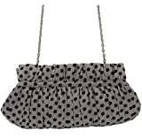 Juliet Ladies Silver with Black Dots Sateen Clutch Bag Handbag with Chain, Fashionable Womens Evening, Prom, Party, Wedding Shoulder or Cross Body Bag