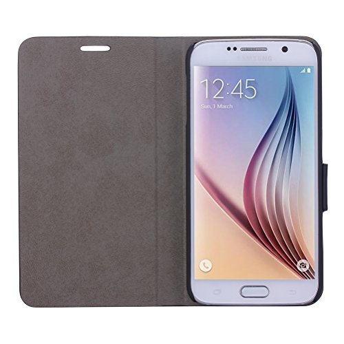 WAWO Samsung Galaxy S6 Case, Soft and Delicate Texture PU Leather Case Cover for Samsung Galaxy S6 with Magnet Closure - Black