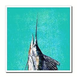 Sailfish Fish Modern Art 14588 Custom Framed Giclee Print on Canvas Nautical Beach Fishing Design Restaurant Home Wall Interior Decoration Souvenir Gift Ideas - Turquoise 10\