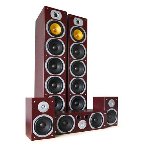 Beng V9B Sistema diffusori 5.1 home theatre Hi-Fi (1240 Watt max, 5 altoparlanti, Bass reflex) color mogano