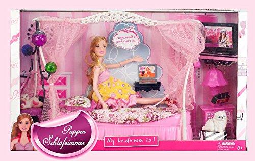 Brigamo-83276-Puppen-Schlafzimmer-inkl-Puppenbett-Himmelbett-und-Modepuppe-mit-umfangreichem-Zubehr