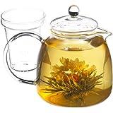 GROSCHE Munich 42 fl oz. 1200ml Glass teapot and 12 premium blooming tea gift set