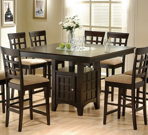 Coaster Hyde Counter Height Square Dining Table With Storage Base In Cappuccino(Table Only) front-478571