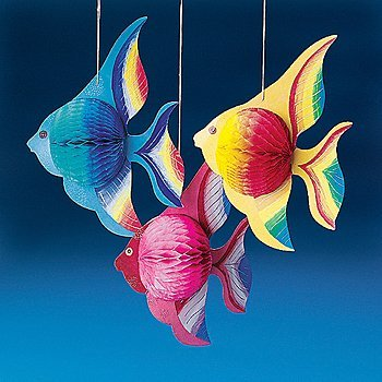 "Fun Express - 10"" Tissue TROPICAL FISH Decorations - Set of 6"
