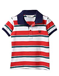 Beebay Infant-boy 100% Cotton White & Red Stripper Polo (C4015115621625_Red Stripe_6-12 Months)