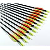"Shiny Black ® Fiberglass Target Practice Arrows 22"" for Children (1 Dozen)"