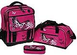 FABRIZIO Butterfly Beauty Schulrucksack 3er SET: Sporttasche + Mäppchen MAGENTA